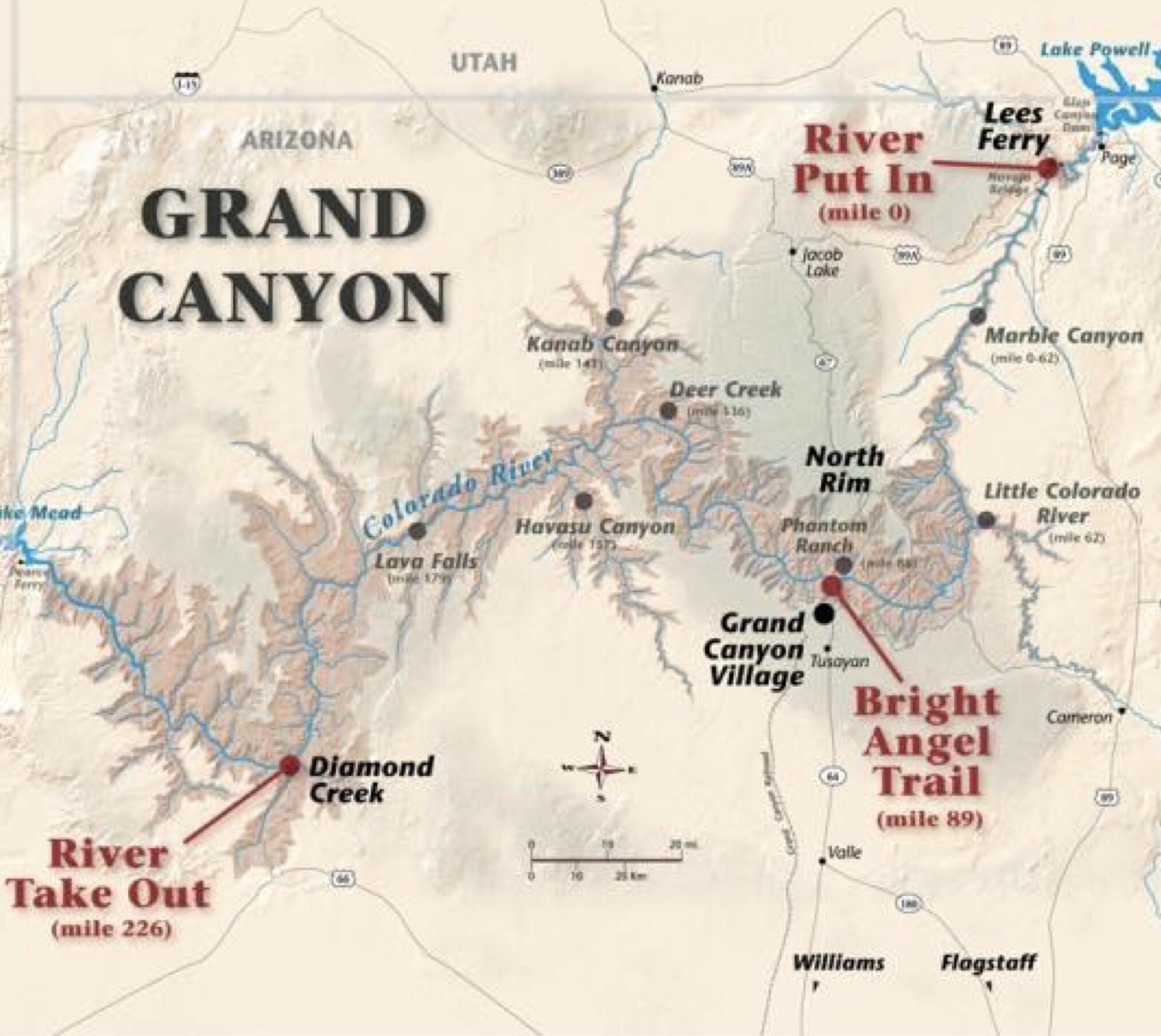 Rafting The Colorado River Through The Grand Canyon Part - Colorado river map world atlas